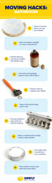 50 Bathroom Moving Hacks [Infographics] | ecogreenlove